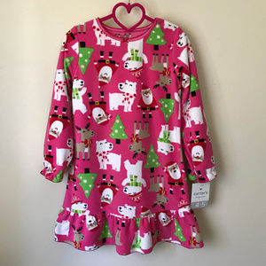 Holiday Cristmas Night Gown Toddler Girl Santa 4 5